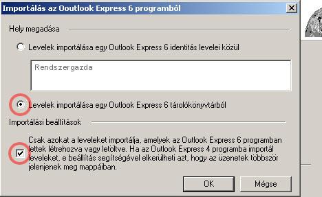 Levelek importálása az Outlook Expressben